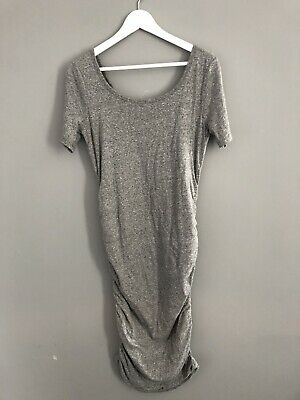 Gap Maternity Long Grey Tshirt Dress Rouched Flattering Small Fitted Midi • 2.99£