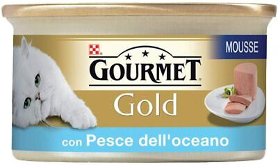 Gourmet Purina Gold Wet Cat Food Mousse With Ocean Fish - 24 Cans Of 85 G Each • 17.54£