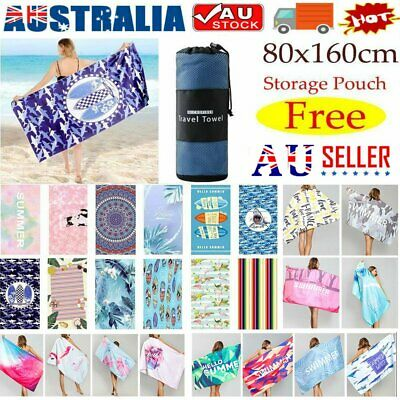 AU22.74 • Buy Free Pouch! Adults Large Soft Quick Dry Microfibre Sand-free Travel Beach Towel