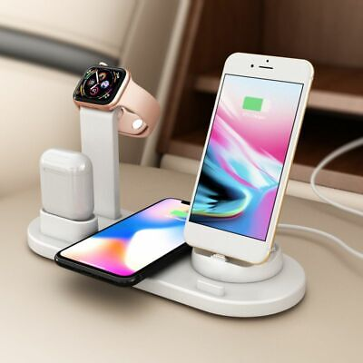 4 IN 1 Smart Charging Dock Station Stand Holder For AirPods IPad Apple Watch UK • 14.99£