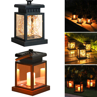 LED Solar Powered Hanging Lantern Lights Outdoor Garden Table Lamp Waterproof UK • 5.98£
