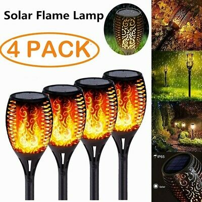 4 Pcs LED Solar Flame Lights Flickering Torch Lamp Outdoor Garden Rainproof UK • 10.88£