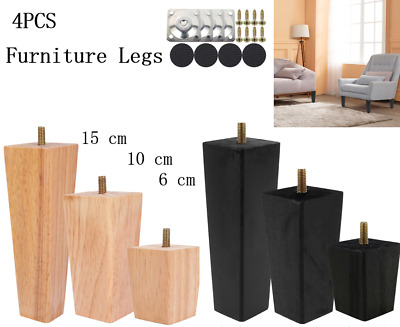 £12.19 • Buy 4Pcs Wooden Furniture Feet 2' 4' 6'  Square Tapered Stools Sofa Chair Bed Legs