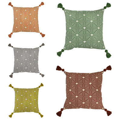Furn Chia Tufted Geometric Pom Pom Tassel Cushion Cover • 10.34£