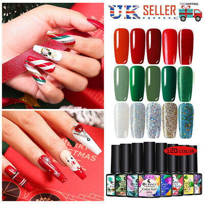 CRANEY  Christmas UV Nail Gel Polish Glitter Soak Off Varnish Red Green GOLD 8ml • 4.99£