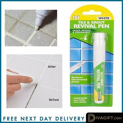 Grout Revival Cleaner Pen Floor Wall Bathroom Kitchen ANTI-MOULD WHITE NO STAINS • 3.95£