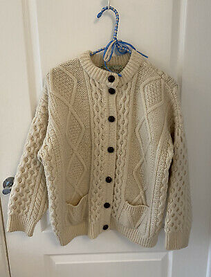 Gorgeous Vintage Aran Cable Knit Cardigan In Cream Wool. Size S. • 12£