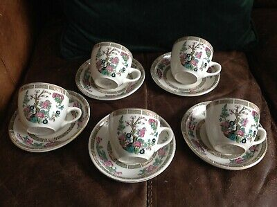 5 X Sampson Bridgwood, Anchor Ironstone  Cup & Saucer Indian Tree Design • 0.99£