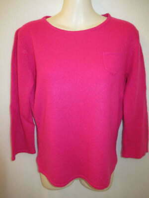 $12.95 • Buy Bisou Bisou 100% Cashmere Pink Crew Neck 3/4 Sleeve Sweater May Fit S M