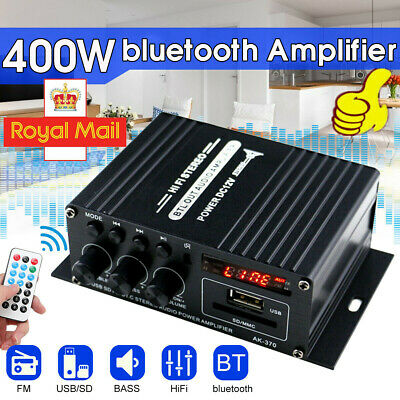 400W Bluetooth HIFI Power Amplifier Mini Audio Digital Stereo FM Radio Mic UK • 11.91£