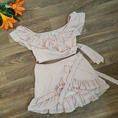 Tobi Morgan Ruffle Wrap Top And Skirt Set Dress Pink Nude For Women Size XS • 46.59£