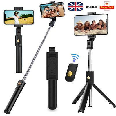 Bluetooth Selfie Tripod Telescopic Stick Remote Monopod Extendable Phone Stand • 8.99£