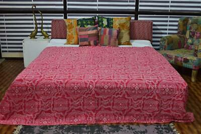 Indian Cotton New Ikat Print Vintage Kantha Quilt Bed Cover Throw Ethnic Blanket • 35.55£