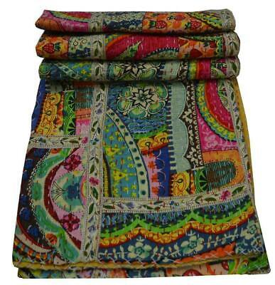 Indian Handmade Throw Reversible Bedspread Kantha Quilt Multi Patchwork Lace Art • 49.99£