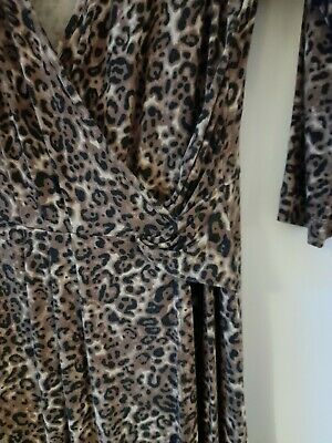 M&S Animal Print Wrap Dress,size 16,very Good Condition, Brown, Beige, Black • 7.50£