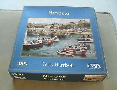 Gibsons Jigsaw Puzzle Newquay Terry Harrison 1000 Pieces Complete  Boats  • 7.95£