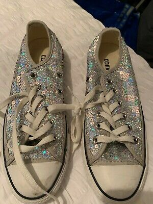 Silver Sequin Shoes By Converse Size 6 / 39  • 25£