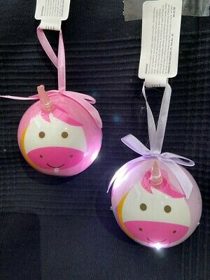 2 X Cute Pink Unicorn Christmas Tree Bauble Decorations Flashing LED Lights • 2.50£