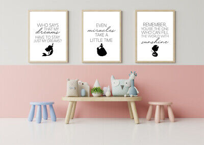 SET OF 3 A4 DISNEY PRINTS. Wall Art Poster Picture Princess Cinderella Quotes • 7.50£