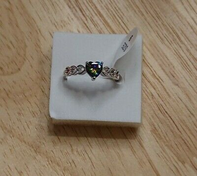 Ladies Xmas Gift 925 Silver Purple Mystic Topaz Hearts Band Ring Size 9 RS  • 9.99£