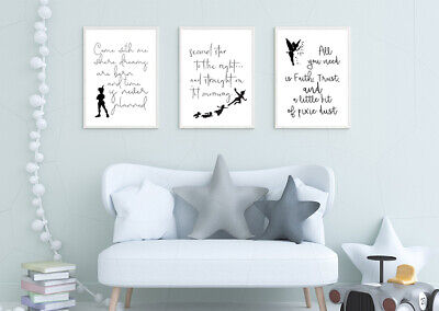 SET OF 3 A4 DISNEY PRINTS. Wall Art Poster Picture Kids Peter Pan Quotes Tink • 7£
