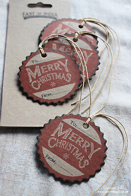 £2.95 • Buy East Of India Merry Christmas ~ Luggage Label ~ Gift Tags ~ Vintage Style ~ X6