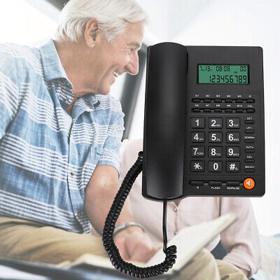Home Desk Corded Landline Phone Telephone Handset LCD With Caller ID Telephone • 12.91£