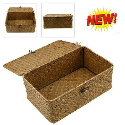 Large Resin Woven Wicker Xmas Hamper Basket Storage Box With Lid & Lock Gift • 9.58£