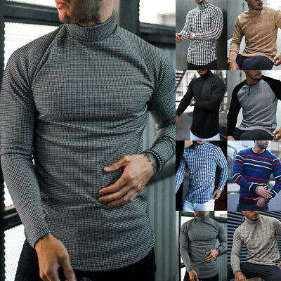 Mens Warm Knitted Polo Roll Turtle Neck Sweater Mens Long Sleeve Jumper Pullover • 12.99£