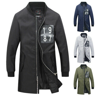 Trench Jacket Parka Outerwear Men's Baseball Top Long Varsity College Mens Coat • 15.34£
