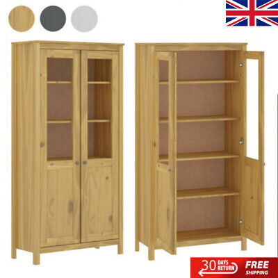 Highboard Solid Pine Display Unit/Bookcase W/Double Glass Doors 5Shelves Cabinet • 217.39£