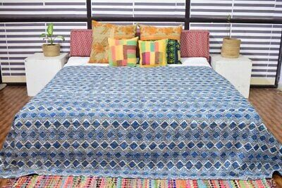 Indian Hand Block Print Kantha Bedspread Quilt Cotton Blanket Throw King & Queen • 35.55£