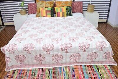 Hand Block Print Kantha Quilt Queen Size Indian Vintage Bedspread Blanket Throw • 35.55£