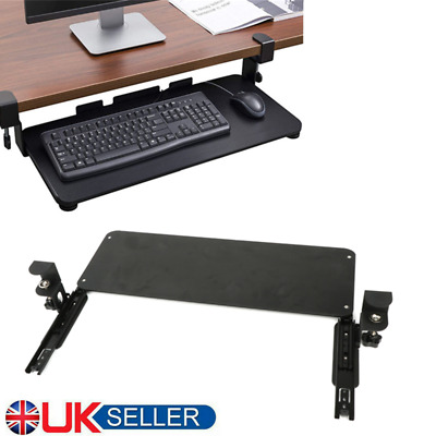 Sturdy Clamp-on Computer Keyboard & Mouse Under Desk Mount Slider Tray Quality • 32.38£