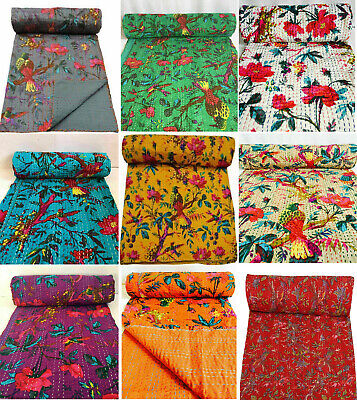 Indian Kantha Quilt Handmade Bird Print Reversible Bed Bedspread Blanket Throw  • 24.55£