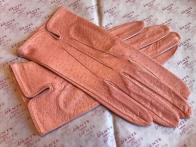 Dents Ladies Salmon Pink Fine Leather Gloves Unlined Size 7 Medium Bnwt • 15.99£