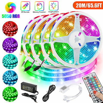 $36.98 • Buy 66FT RGB 5050 SMD Flexible LED Strip Light Remote Fairy Lights Room TV Party Bar