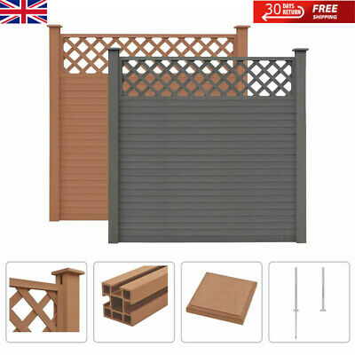 WPC Fence Set Outdoor Garden Panel Lawn Border Posts Square Yard Multi Choice • 113.19£