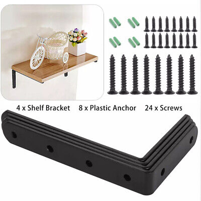 AU14.99 • Buy 4Pcs Shelf Bracket Heavy Duty Black Steel L Corner Brace Joint Angle Brackets