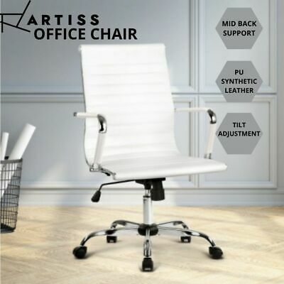 AU102.66 • Buy Artiss Gaming Office Chair Computer Desk Chairs Home Work Study White MidBack AU