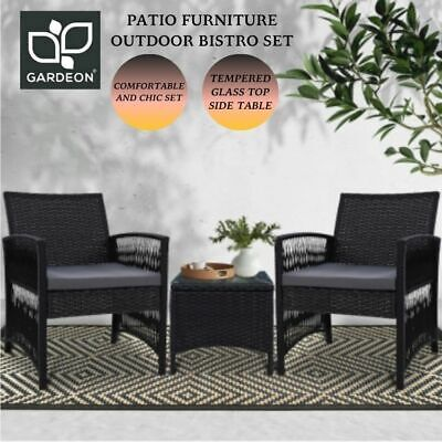 AU209.99 • Buy Gardeon Patio Furniture Outdoor Bistro Dining Chairs Setting 3 Piece Wicker AU