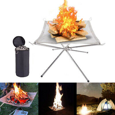 £16.99 • Buy Folding Mesh Fire Pit Portable Fire Pit Bonfire Stand Outdoor Camping Patio New