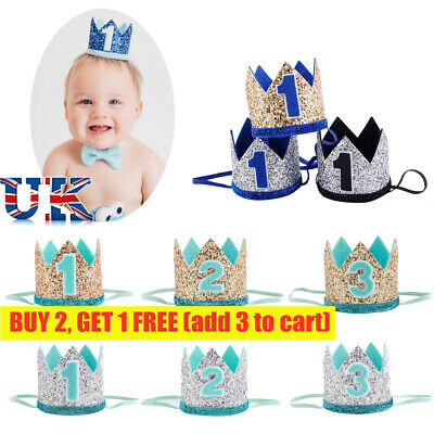 £3.86 • Buy Kids Baby 1st -3th Birthday Crown Hats Headband Hair Accessories Party Decor
