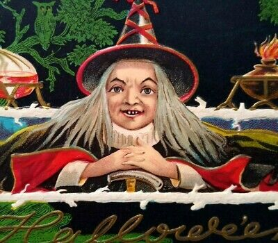$ CDN65.28 • Buy Vintage Halloween Postcard Nash Gray Haired Witch Potions Laboratory Series H-25