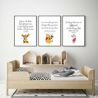 SET OF 3 A4 DISNEY PRINTS. Wall Art Poster Picture Winnie The Pooh Kids Quotes • 7.50£