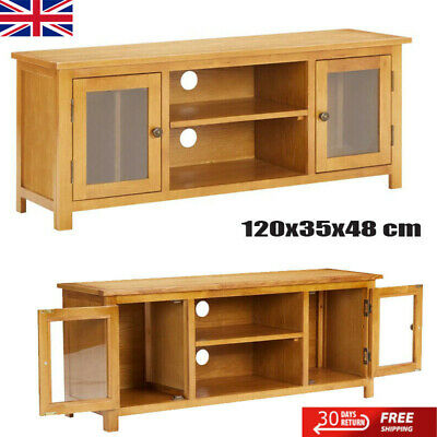 TV Cabinet TV Unit Stand With Glass Windows And 2 Doors Living Room Furniture • 179.22£