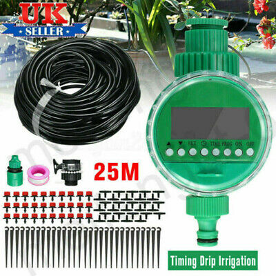 25M Automatic Drip Irrigation System Kit Plant +Timer Self Watering Garden Hose • 14.19£