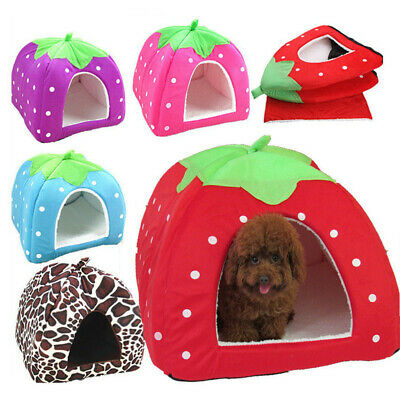 £10.99 • Buy Soft Strawberry Pet Cat Dog Fleece Washable Igloo Bed Pyramid Cozy Kennel House