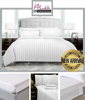 AU30.58 • Buy Satin Stripe Duvet Cover Fitted Flat Sheets & Pillowcase Quilt Cover Bedding Set