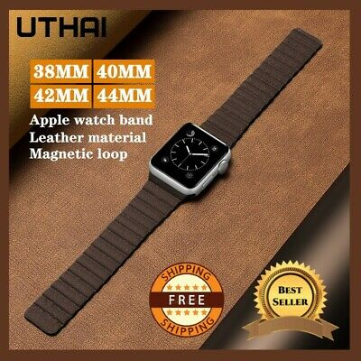 $ CDN10.67 • Buy Magnetic Leather Loop Strap For Apple Watch Series 4 5 6 Band For IWatch 38-44mm
